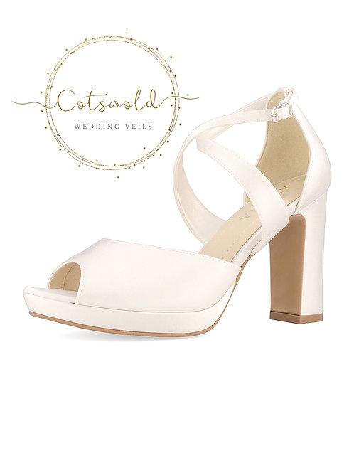 *SALE* Beautiful Bridal Shoes, Ivory Satin Brides Shoes, Peep Toe, High Heel