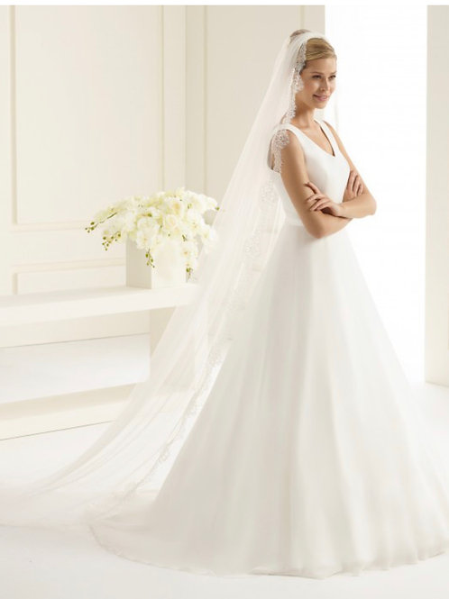 """98"""" Lace Edge - French Lace, Single Layer Soft Tulle Veil"""