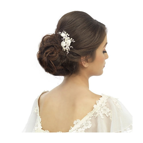 Freya Luxe Floral Hair Pin, Wedding Hair Accessories, Available in Silver, Rose