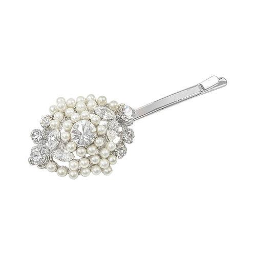 Classic Pearl Clip, Silver Hair Clip, Bridal Hair, Bridal Accessories, Bridesmai