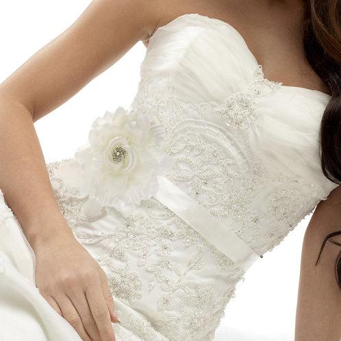 Beautiful Bridal Floral Sash,  Wedding Dress Belt, Ivory Sash