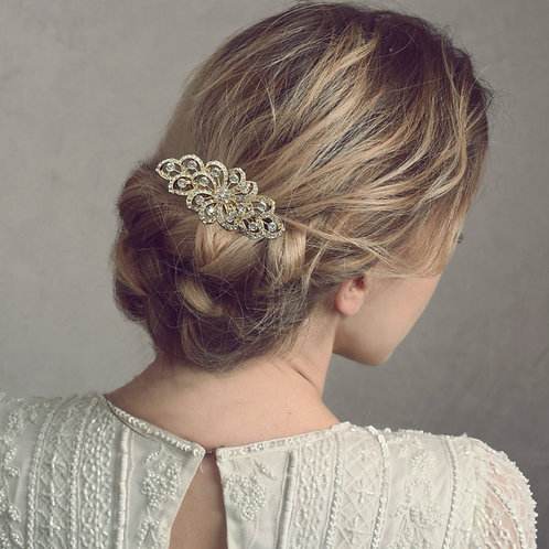 Crystal Swirl Hair Comb, Available in Silver or Gold