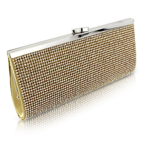 Charlotte Crystal Clutch Bag - Gold, Black or Silver