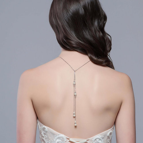 Luxe Pearl Back Drop Necklace Set, Vintage Pearl Drop Necklace, Silver, Wedding