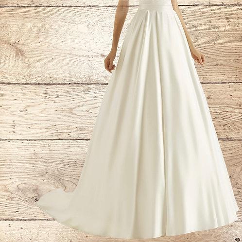 Satin Bridal Skirt, Quality Satin Wedding Dress Skirt, Pockets, Bold Pleats, Sat