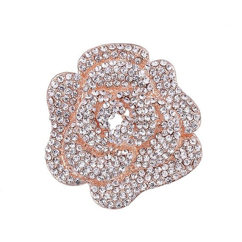 Exquisite Rose Brooch, Crystal Bridal Dress Brooch, Available in Rose Gold or Si