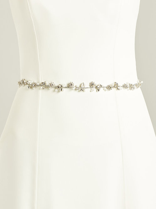 Delicate Crystal & Pearl Floral Bridal Belt, Belt with Pearl and Crystal Embelli