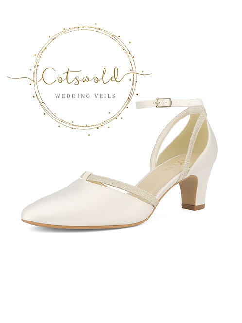 Beautiful Bridal Shoes, Ivory Satin & Glitter Straps Brides Shoes, Mid Heel , An