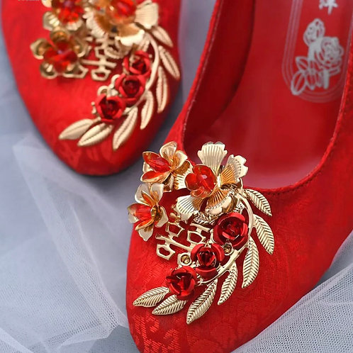 Beautiful Gold & Red Flower Vine Bridal Shoe Clips, Shoe Brooches, Shoe Buckles,