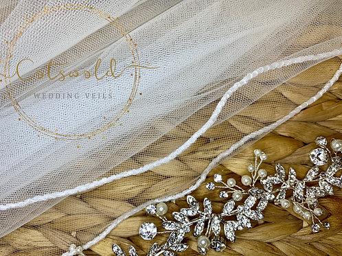 "67"" Beaded Edge - Single Layer Soft Tulle Floor Veil"
