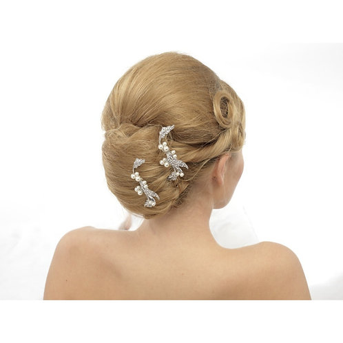 Pair of Vintage Crystal Luxe Bridal Hairpins, Silver, Bridal Accessories, Bridal