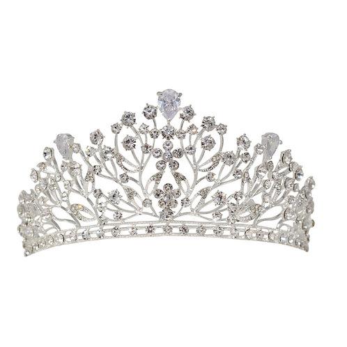 Crystal Extravagance Bridal Crown, Wedding Tiara, Bridal Accessories, Silver Cro