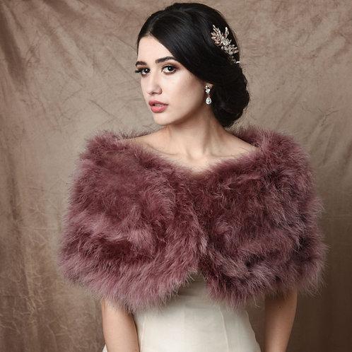 Dusky Pink Marabou Feather Wrap - Beautiful Vintage Inspired Shrug, Stole