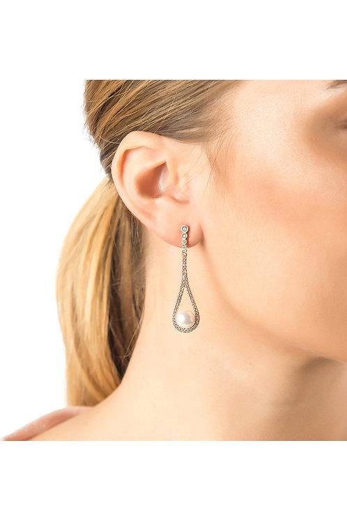 Cradled Pearl Drop Earrings Rosegold