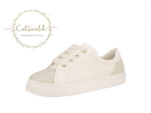Beautiful Bridal Trainers, Classic Satin & Glitter Sneakers Shoes, with Glitter