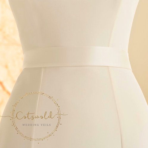 Beautiful Bridal Belt, Plain Satin Belt, Wedding Dress Belt, Ivory, Pre Tied Sat