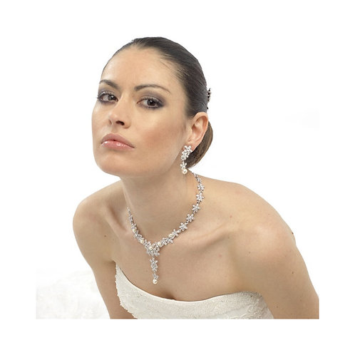 Crystal & Pearl Bridal Necklace, Available in Silver, Wedding Jewellery, Bridal