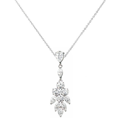 Pretty Chic Crystal Drop Necklace, Available in Silver,  Wedding Jewellery, Brid