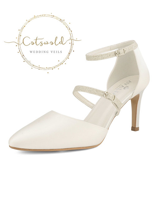 Beautiful Bridal Shoes, Ivory Satin Brides Shoes, Twin Glitter Strap, High Heel,
