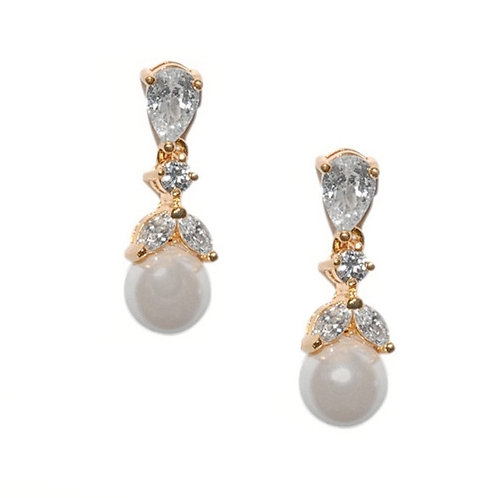 Clip On Graceful Pearl Earrings, Rose Gold, Bridal Accessories, Bridal Jewellery