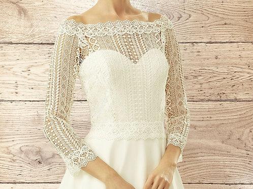 Boat Neck Floral Boho Lace Bolero - Wedding Dress Cover Up, Bridal Accessories,