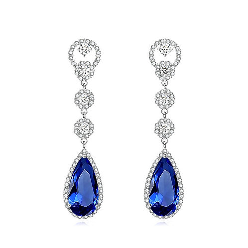 Crystal Luxe Drop Earrings, Available in Silver, Emerald Green, Red or Sapphire