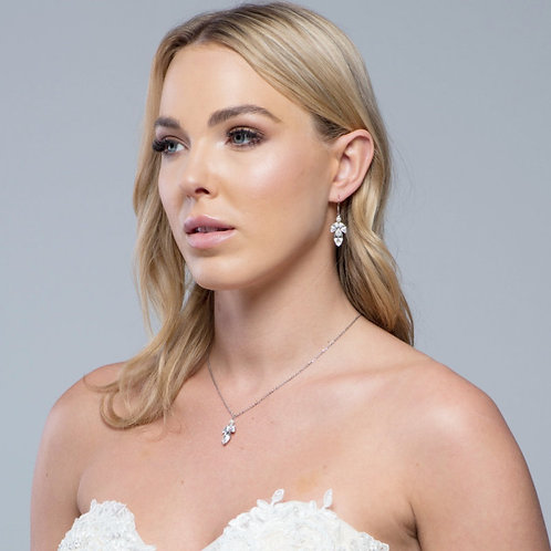 Dainty Drop Necklace Set, Pearl Necklace & Earrings, Available in Silver, Bridal