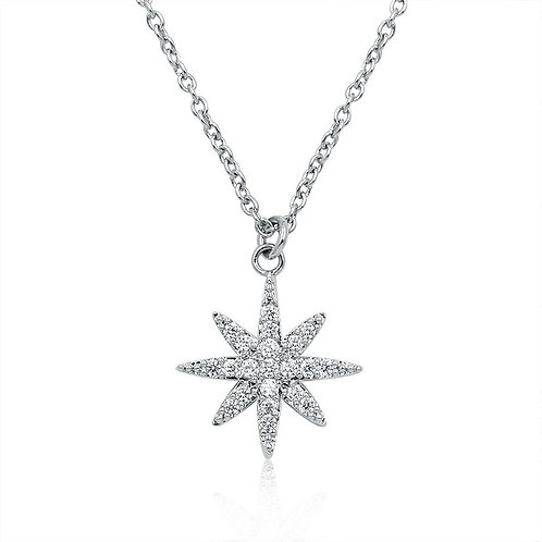 Crystal Star Necklace, Available in Silver