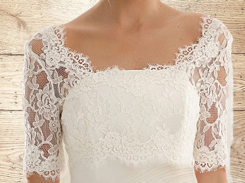 Beautiful French Lace Bolero - Wedding Dress Cover Up Accessories,  Ivory French