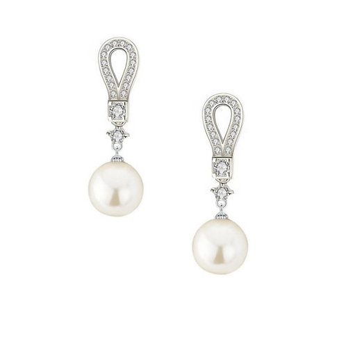 Deco Divine Pearl Drop Earrings, Available in Silver, Bridal Accessories, Bridal