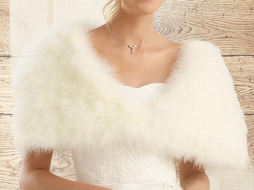 Marabou Feather Cape, Wedding Bolero, White or Ivory