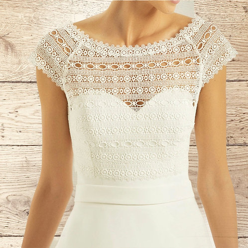 Beautiful Boho Lace Bolero - Wedding Dress Cover Up Accessories,  Ivory Lace Shr