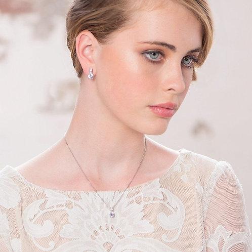 Delicte Crystal Shimmer Necklace Set, Necklace & Earrings, Silver or Rose Gold,
