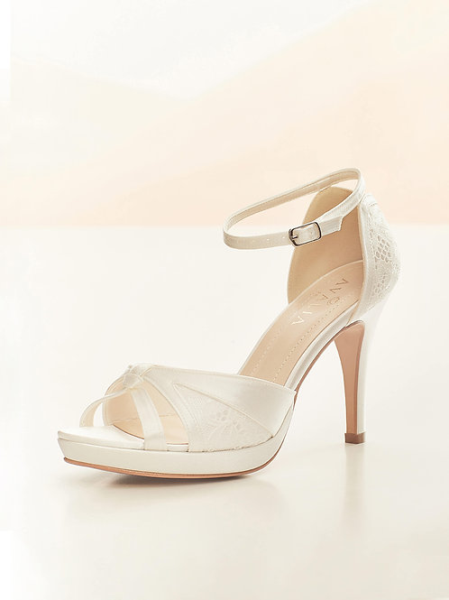 Beautiful Bridal Shoes, Ivory Satin & Lace High Heel Shoes
