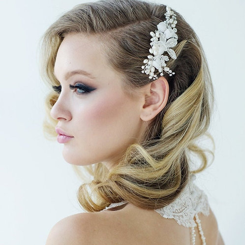 Freya Luxe Floral Hair Comb, Gold or Silver, Bridal Accessories, Bridal Hair, Br