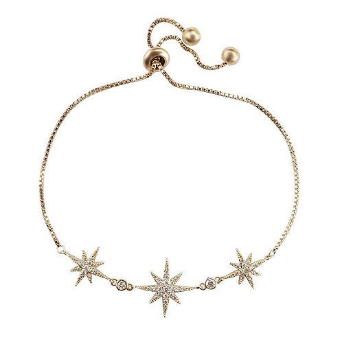 Crystal Starburst Adjustable Bracelet, Available in Silver, Rose Gold or Gold, B