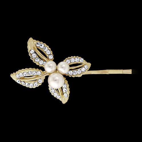 Classic Pearl Clip, Gold Hair Clip, Bridal Hair, Bridal Accessories, Bridesmaid