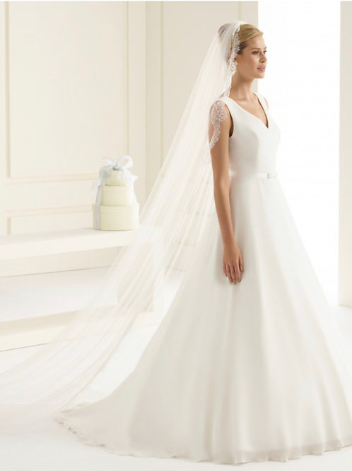 """118"""" Lace Edge - Soft Diamond Tulle single layer Veil, French Lace Veil"""