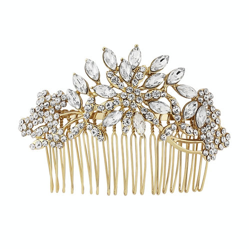 Crystal Extravagance Hair Comb - Gold