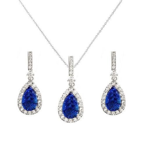 Crystal Shimmer Necklace & Earrings, Available in Silver or Sapphire Blue, Brida