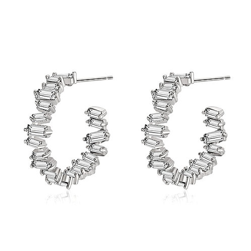 Crystal Divine Hoop Earrings, Available in Silver, Bridal Accessories, Bridal Je