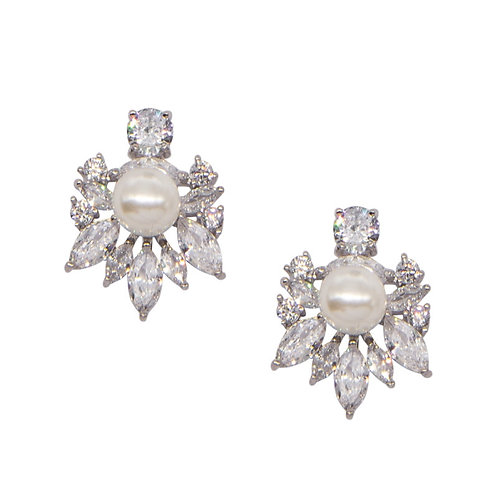 Simple Sparkle Pearl Earrings, Available in Silver, Bridal Accessories, Bridal J