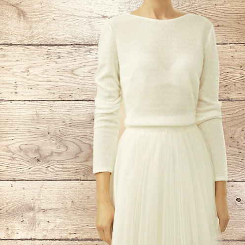 Beautiful V Back Bridal Jumper, Bridal Top, Ivory Bridal Sweater, Button Detail