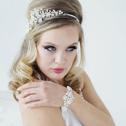 Serenity Floral Pearl Bracelet, Silver, Bridal Accessories, Wedding Jewellery, C