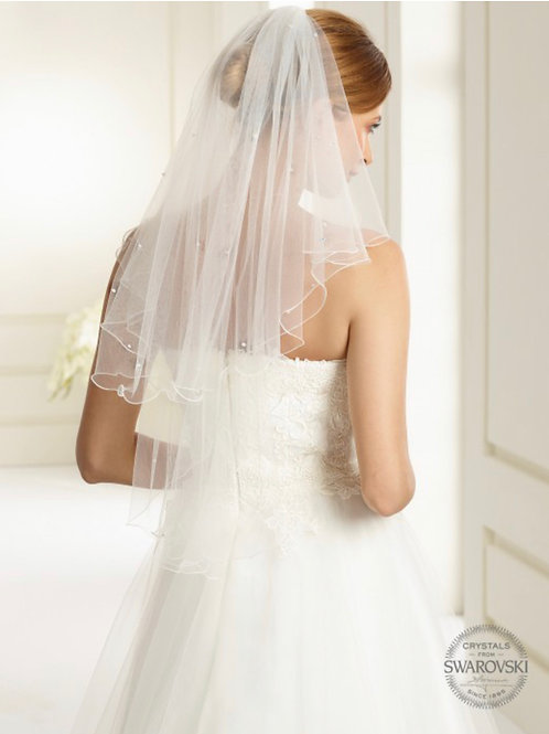 Corded Edge - 2 Layers Tulle Genuine Swarovski Veil 32""