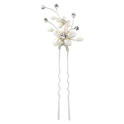 Neva Pearl Flower Hair Pin, Silver, Bridal Accessories, Bridal Hair, Bridesmaid