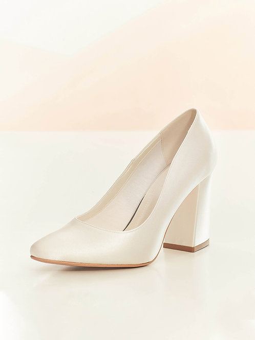Beautiful Bridal Shoes, Ivory Satin Brides High Heel Shoes, Block Heel