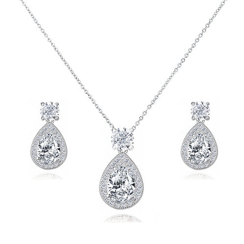 Dazzling Crystal Drop Necklace & Earrings, Pink, Emerald, Sapphire, Silver or Ro