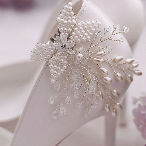 Beautiful Pearl Bow Flower Vine Bridal Shoe Clips, Shoe Brooches, Shoe Buckles,