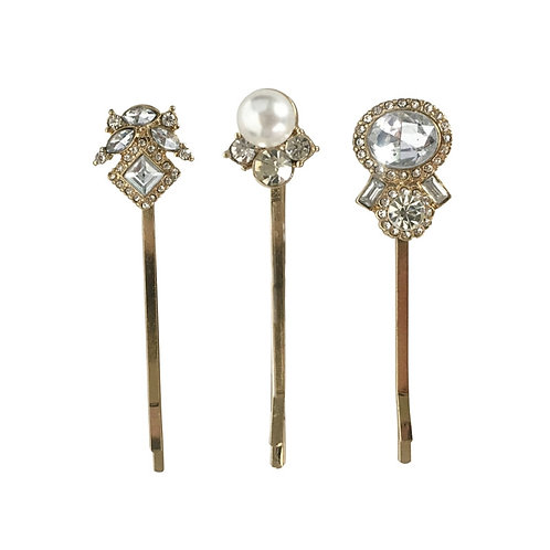 Trio of Vintage Gold Clips, Gold Hair Clips, Bridal Hair Accessories